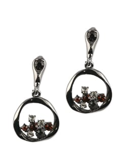 Crystal And Pearl Round Earrings - Addons