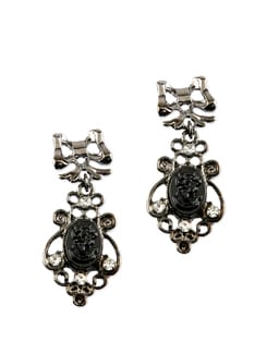 Lady Engraved Gunmetal Earrings - Addons