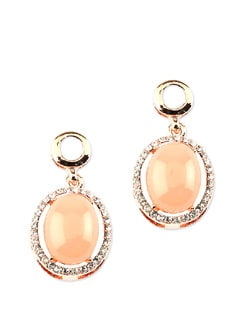 Oval-shaped Stone Studded Earrings - Addons