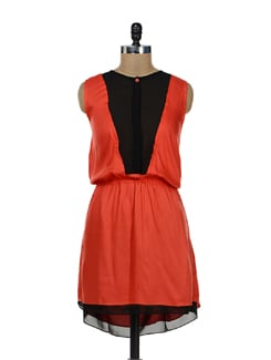 Stylish Orange & Black Dress - Remanika