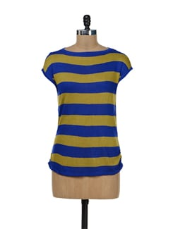 Blue & Mustard Striped Top - Remanika