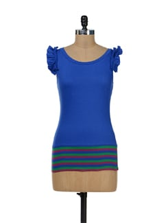 Chic Blue Fitted Top - Remanika