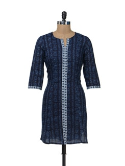 Printed Navy Kurta - Cotton Curio