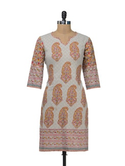 Light Grey Kurta With Buti Print - Cotton Curio