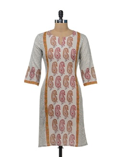 Light Grey Paisley Print Kurta - Cotton Curio