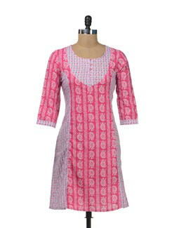 Stylish Pink & White Printed Kurta - Cotton Curio