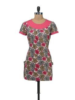 Pink Floral Short Kurti - Cotton Curio