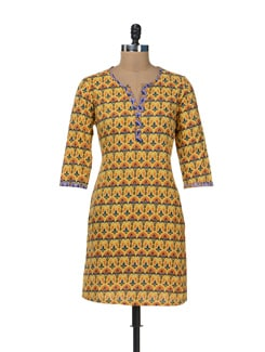 Elegant Printed Yellow Kurta - Cotton Curio