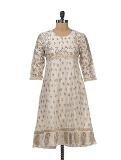Ethnic Off-White Printed Kurta - Cotton Curio