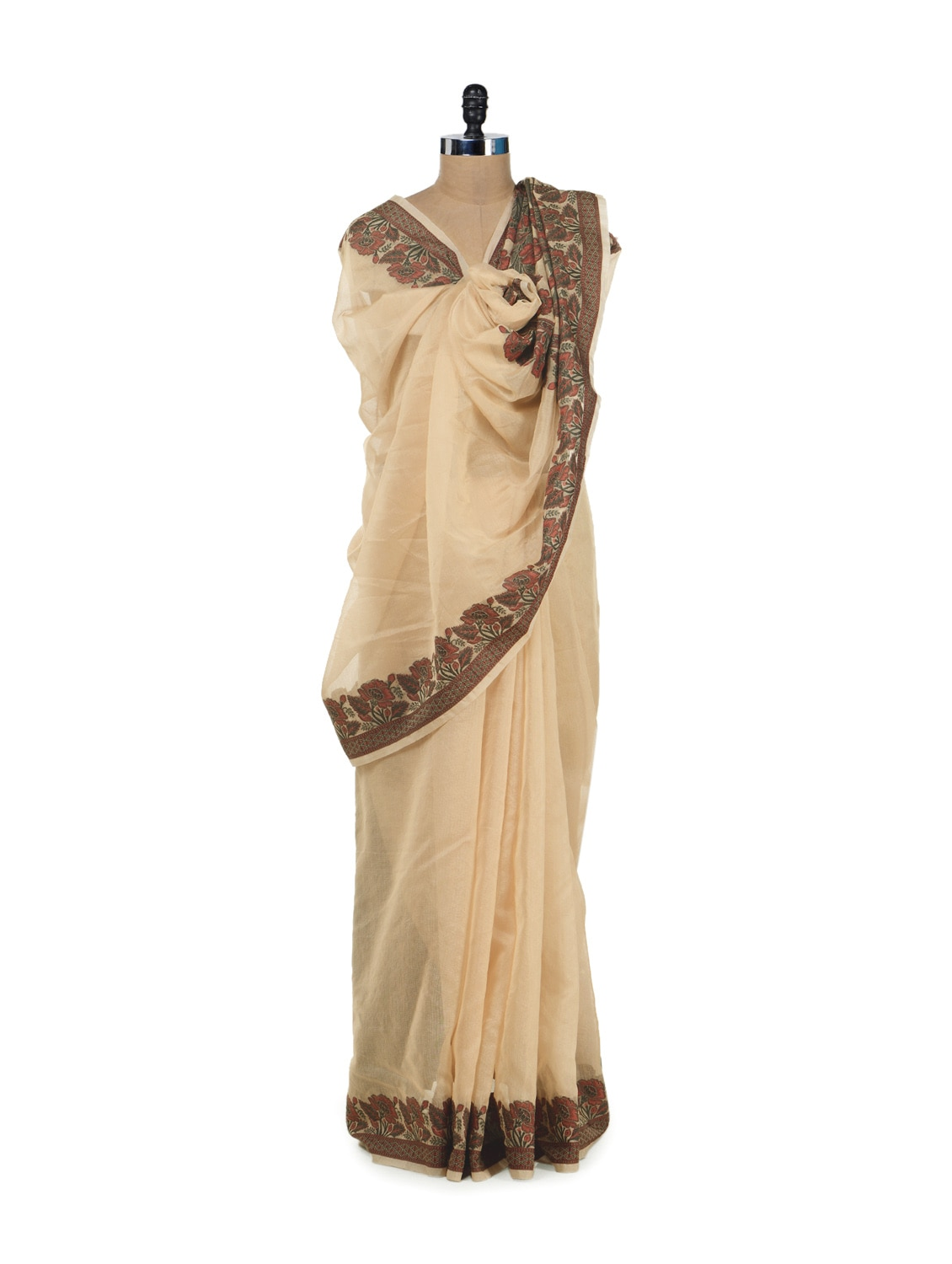 Chic Beige Saree With Floral Cut Work Border And Pallu - Bunkar