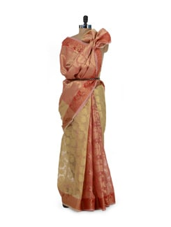 Beige And Red Saree With Zari Work - Bunkar