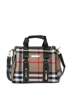 Handbag In Black With Check And Zipper Details - Lino Perros