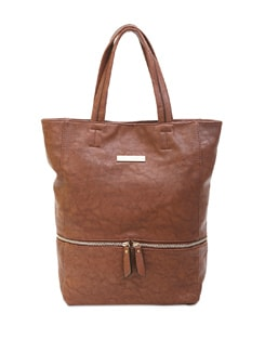 Textured Brown Bag With Zipper Detailing - Lino Perros