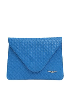 Vibrant Blue Textured Envelope Clutch - Lino Perros