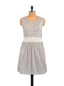 Striped Grey Dress With Lace Waist - Myaddiction