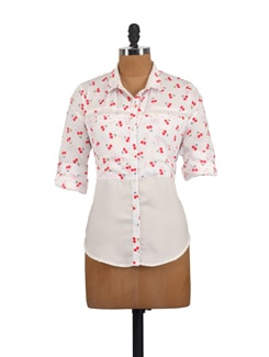 White Cherry Print Shirt - Myaddiction