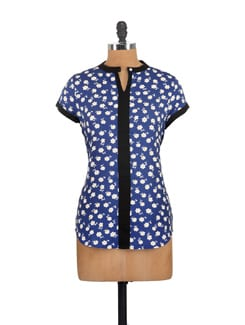 Royal Blue Floral Tipped Top - Myaddiction