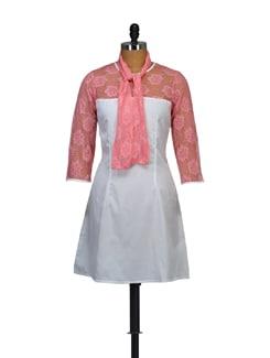 Floral Lace-Inset White Dress - Myaddiction