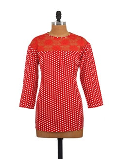 Red Polka Top With Lace Yoke - Myaddiction
