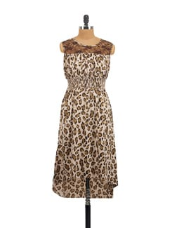Beige & Brown Animal Print Dress - Myaddiction