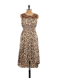 Beige & Brown Animal Print Dress - Myaddiction
