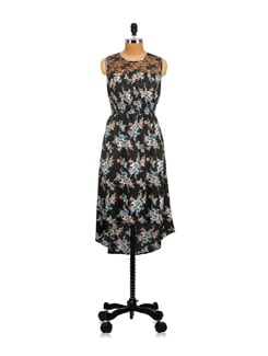 Black Floral Dress With Lace Yoke - Myaddiction