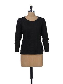 Stylish Black Pleated Top - NUN