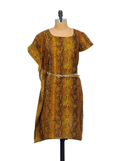 Ochre Yellow Printed Dress - Purplicious