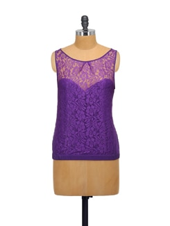 Chic Purple Crochet Top - Purplicious
