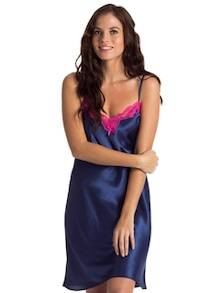 Navy Blue Chemise With Pink Lace - PrettySecrets