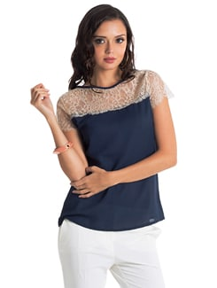 Navy Lace Trim Blouse - PrettySecrets