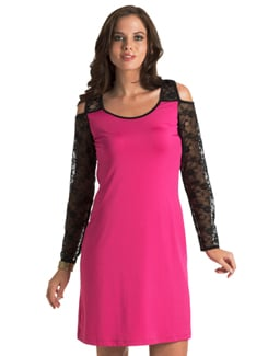 Fuschia Lace Back Night Out Dress - PrettySecrets