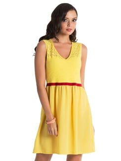 Yellow Belted Dress - PrettySecrets