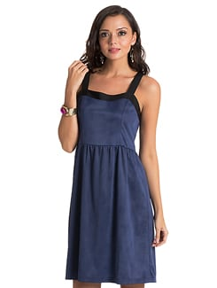 Navy Blue Flared Dress - PrettySecrets
