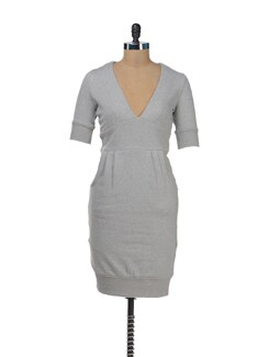 Grey Dress With Front Pockets - Femella