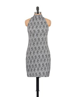 Printed Grey And Black Dress - GRITSTONES