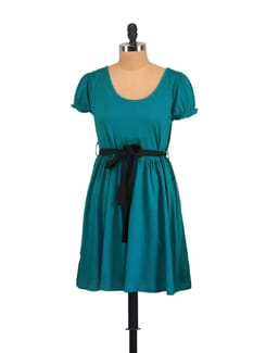 Frock Style Teal Dress With A Black Belt - GRITSTONES