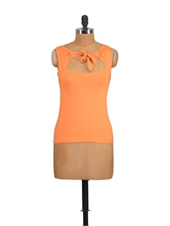 Neon Orange Cut Out Top - GRITSTONES