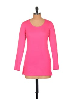 Trendy Full Sleeved Hot Pink Top - GRITSTONES