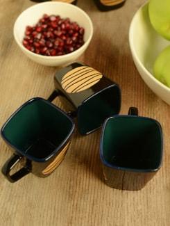 Patterned Ceramic Tea Cups- Set Of 6 - Habitation
