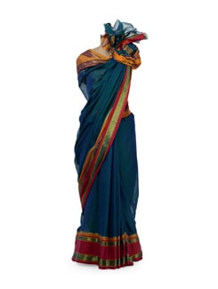 Teal Blue Cotton Saree With Border - Desiweaves