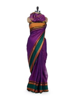 Purple Cotton Saree With Contrasting Border - Desiweaves