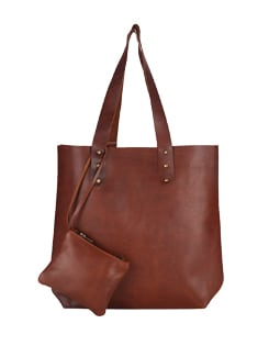 Chocolate Brown Studded Tote Bag - The House Of Tara