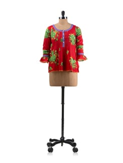 Red Floral Print Top - Mineral