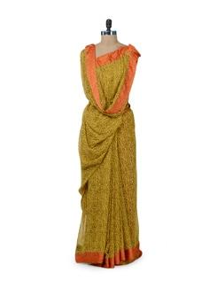 Printed Yellow & Orange Saree - ROOP KASHISH
