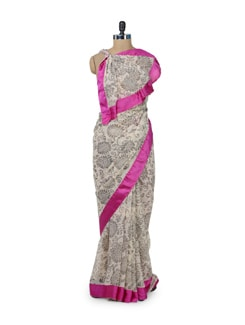 Elegant White & Pink Floral Saree - ROOP KASHISH