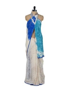 Off-White Printed Saree - ROOP KASHISH