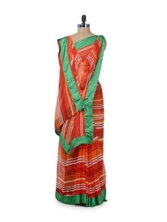 Orange & Green Striped Saree - ROOP KASHISH