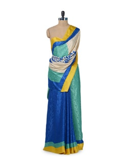 Vibrant Blue & Green Printed Saree - ROOP KASHISH