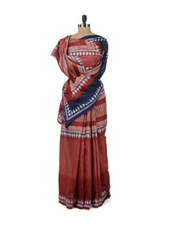 Elegant Brown Tree Print Saree - ROOP KASHISH